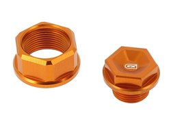 Geco  pair axle nuts color orange