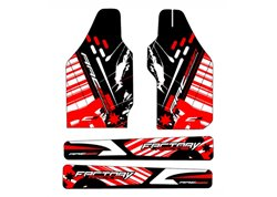 Arc Design fork guards + swing arm stickers color red